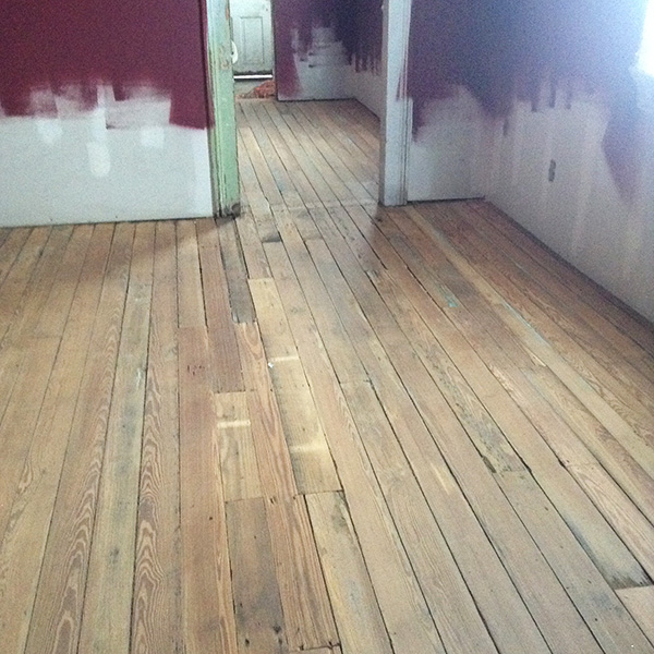 The floors after they had been sanded but before the polyurethane