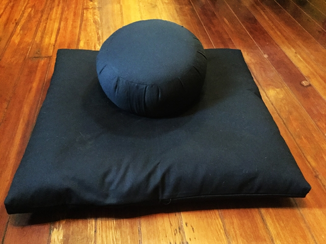 One of several meditation cushions for use in our meditation and yoga room.