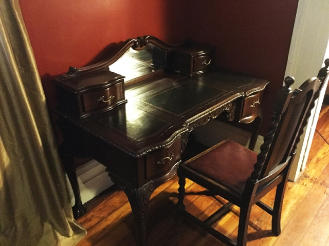 This antique writing desk was made in the 1920s, and is one of a half dozen or so places to write in the residency.
