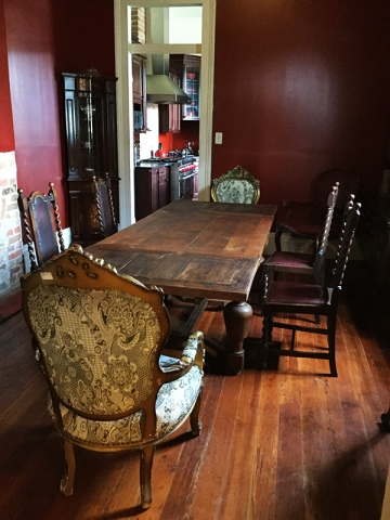 Our antique dining room table can seat up to twelve guests for one of Kat's famous dinner party feasts.